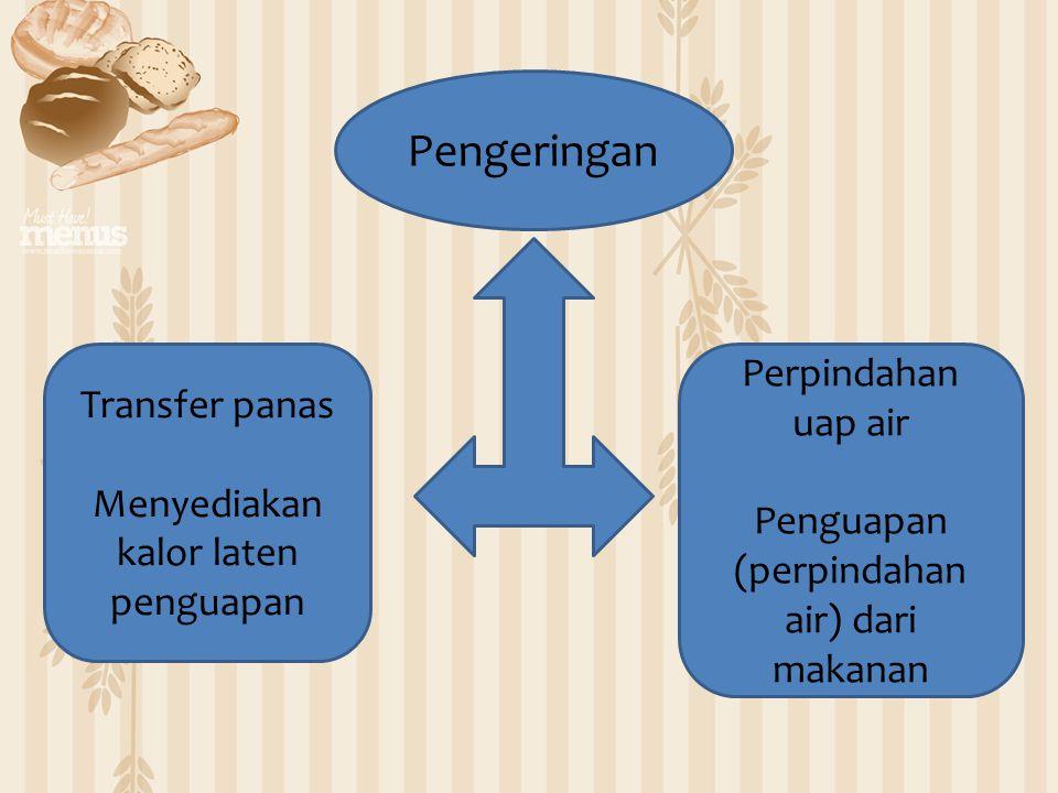 Pengeringan Transfer panas Menyediakan kalor laten penguapan Perpindahan uap air Penguapan (perpindahan air) dari makanan