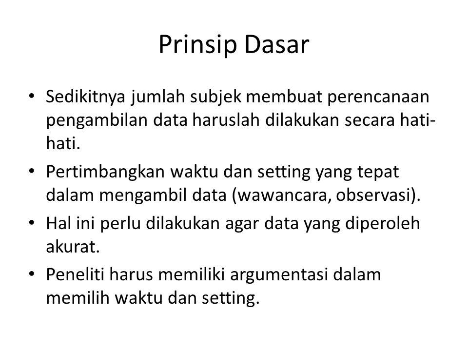 Prinsip Dasar Ada penelitian kualitatif yang ingin mendapatkan gambaran umum.