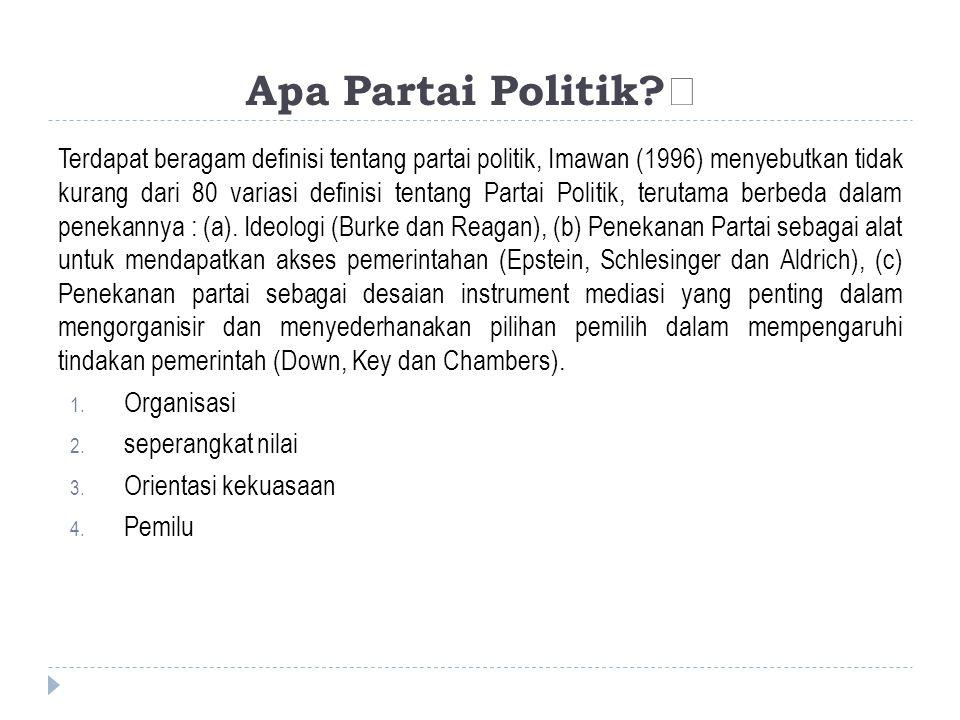 Apa Partai Politik?‡ Terdapat beragam definisi tentang partai politik, Imawan (1996) menyebutkan tidak kurang dari 80 variasi definisi tentang Partai