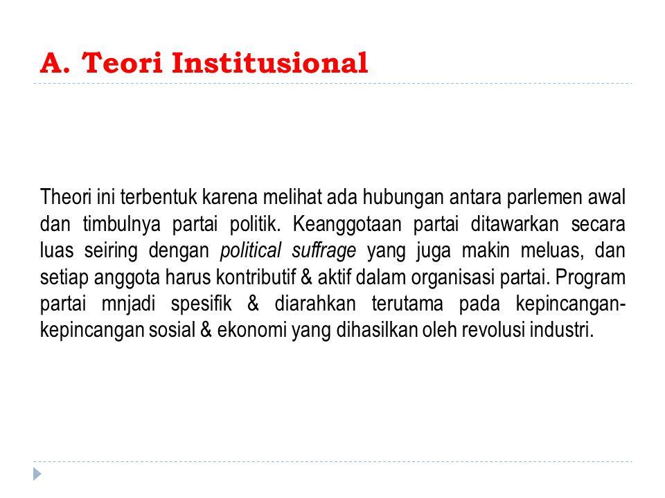 A. Teori Institusional Theori ini terbentuk karena melihat ada hubungan antara parlemen awal dan timbulnya partai politik. Keanggotaan partai ditawark