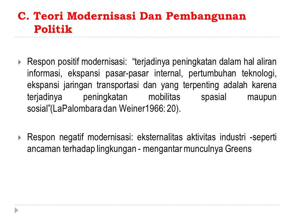 """C. Teori Modernisasi Dan Pembangunan Politik  Respon positif modernisasi: """"terjadinya peningkatan dalam hal aliran informasi, ekspansi pasar-pasar in"""