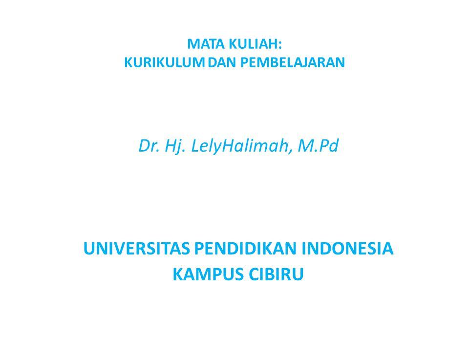 MATA KULIAH: KURIKULUM DAN PEMBELAJARAN Dr. Hj. LelyHalimah, M.Pd UNIVERSITAS PENDIDIKAN INDONESIA KAMPUS CIBIRU