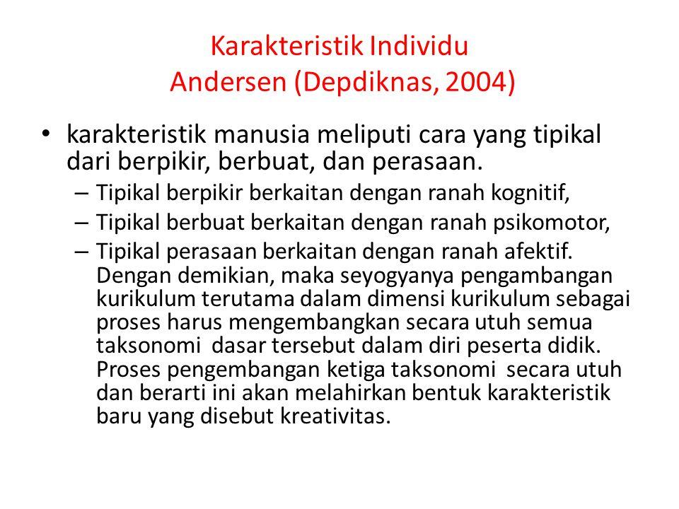 Karakteristik Individu Andersen (Depdiknas, 2004) karakteristik manusia meliputi cara yang tipikal dari berpikir, berbuat, dan perasaan. – Tipikal ber