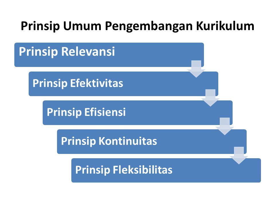 Prinsip Umum Pengembangan Kurikulum Prinsip Relevansi Prinsip EfektivitasPrinsip EfisiensiPrinsip KontinuitasPrinsip Fleksibilitas