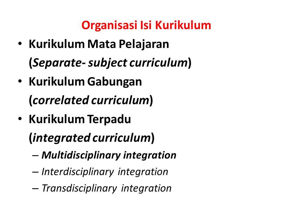 Organisasi Isi Kurikulum Kurikulum Mata Pelajaran (Separate- subject curriculum) Kurikulum Gabungan (correlated curriculum) Kurikulum Terpadu (integra