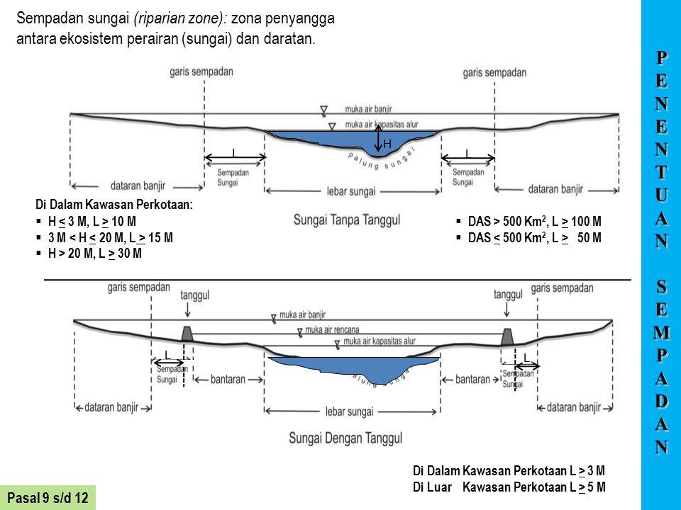 Di Luar Kawasan Perkotaan: Di Dalam Kawasan Perkotaan L > 3 M Di Luar Kawasan Perkotaan L > 5 M L L L L H Pasal 9 s/d 12 Sempadan sungai (riparian zon