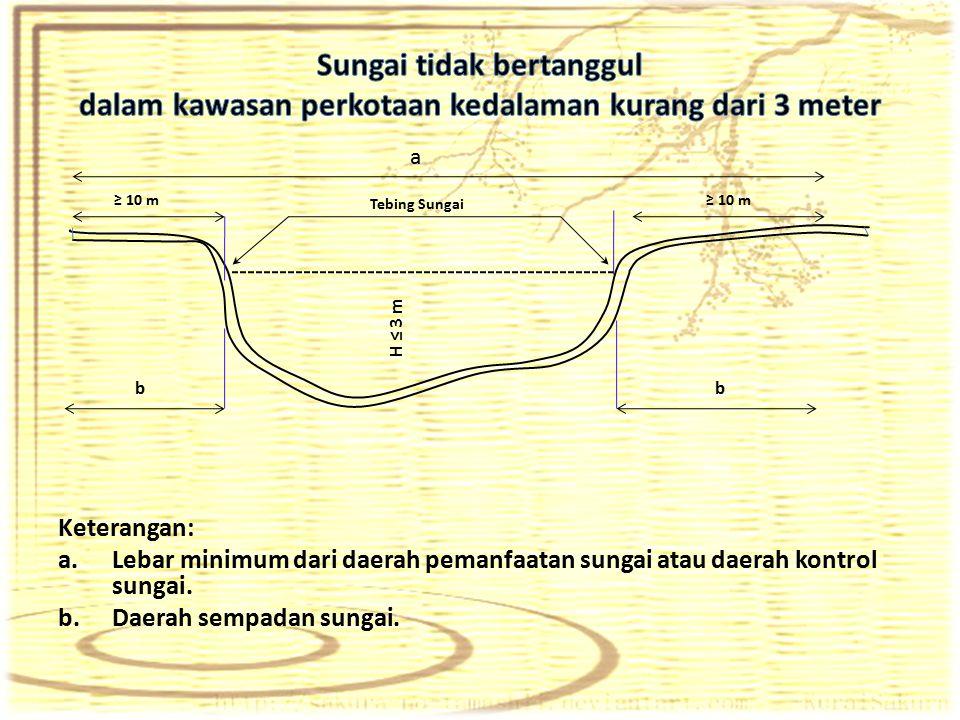 Keterangan: a.Lebar minimum dari daerah pemanfaatan sungai atau daerah kontrol sungai. b.Daerah sempadan sungai. a Tebing Sungai ≥ 10 m b b H ≤ 3 m