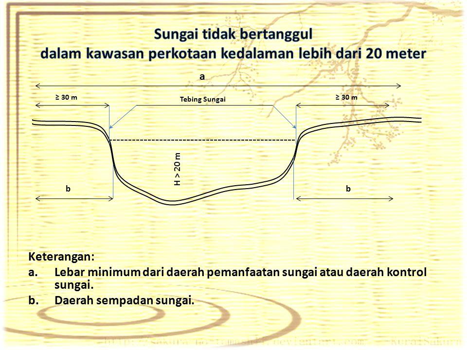 Keterangan: a.Lebar minimum dari daerah pemanfaatan sungai atau daerah kontrol sungai. b.Daerah sempadan sungai. a ≥ 30 m bb H > 20 m Tebing Sungai