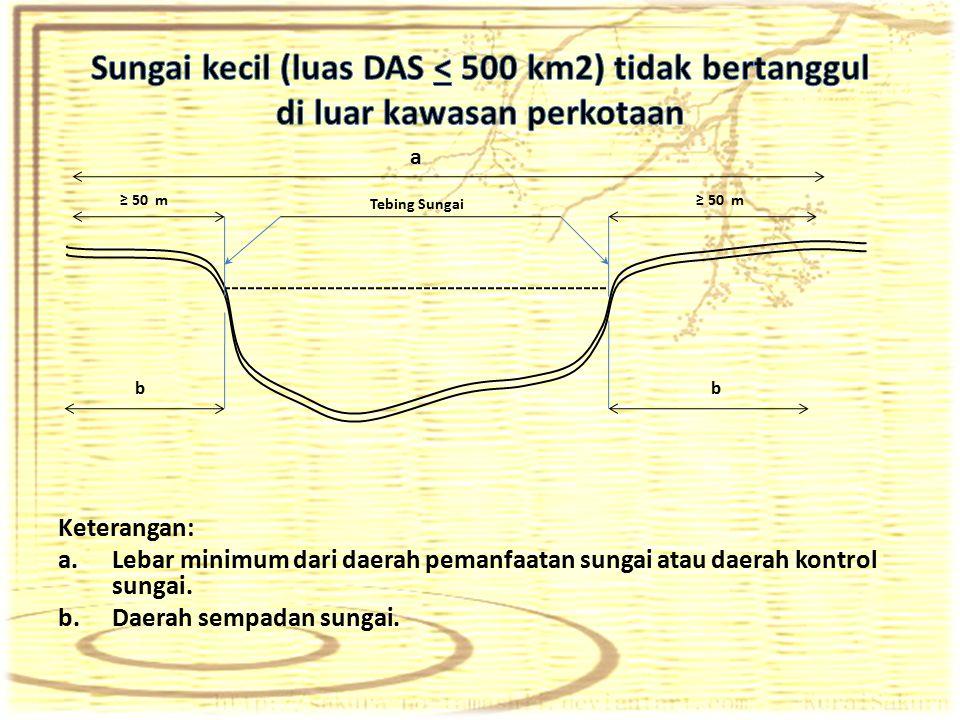 Keterangan: a.Lebar minimum dari daerah pemanfaatan sungai atau daerah kontrol sungai. b.Daerah sempadan sungai. Tebing Sungai a ≥ 50 m bb