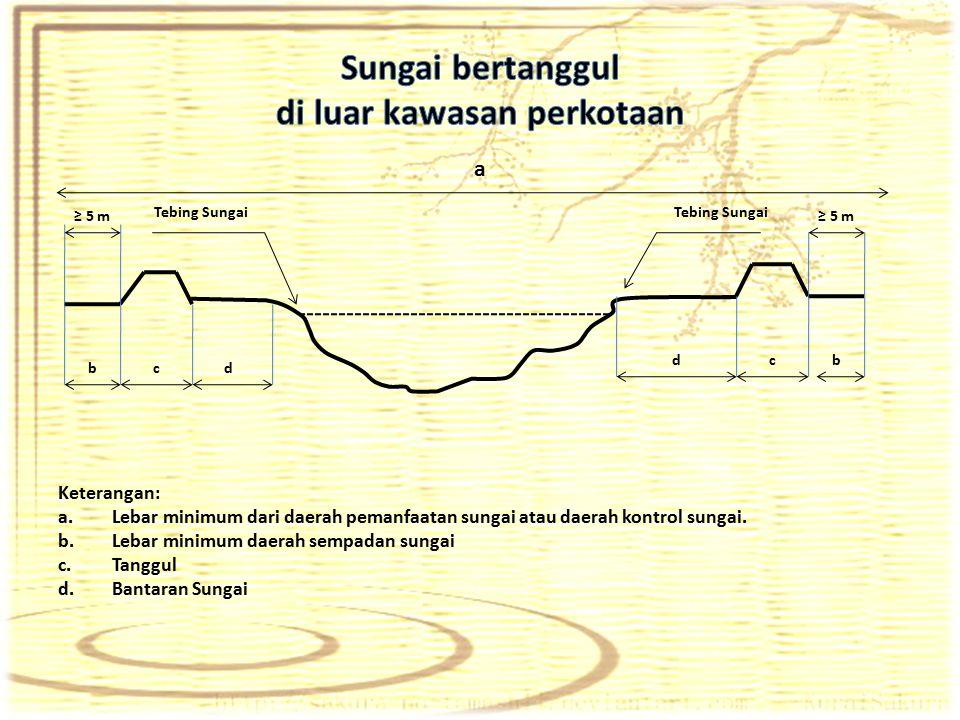 ≥ 5 m Tebing Sungai b dbc cd ≥ 5 m Keterangan: a.Lebar minimum dari daerah pemanfaatan sungai atau daerah kontrol sungai. b.Lebar minimum daerah sempa