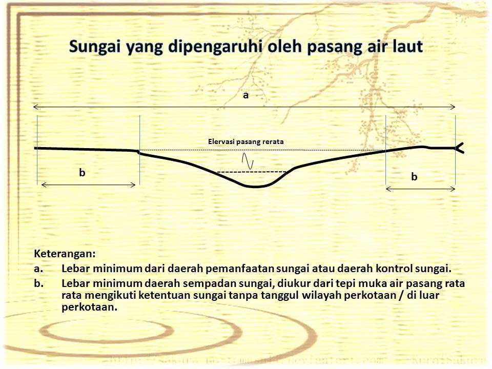 Keterangan: a.Lebar minimum dari daerah pemanfaatan sungai atau daerah kontrol sungai. b.Lebar minimum daerah sempadan sungai, diukur dari tepi muka a