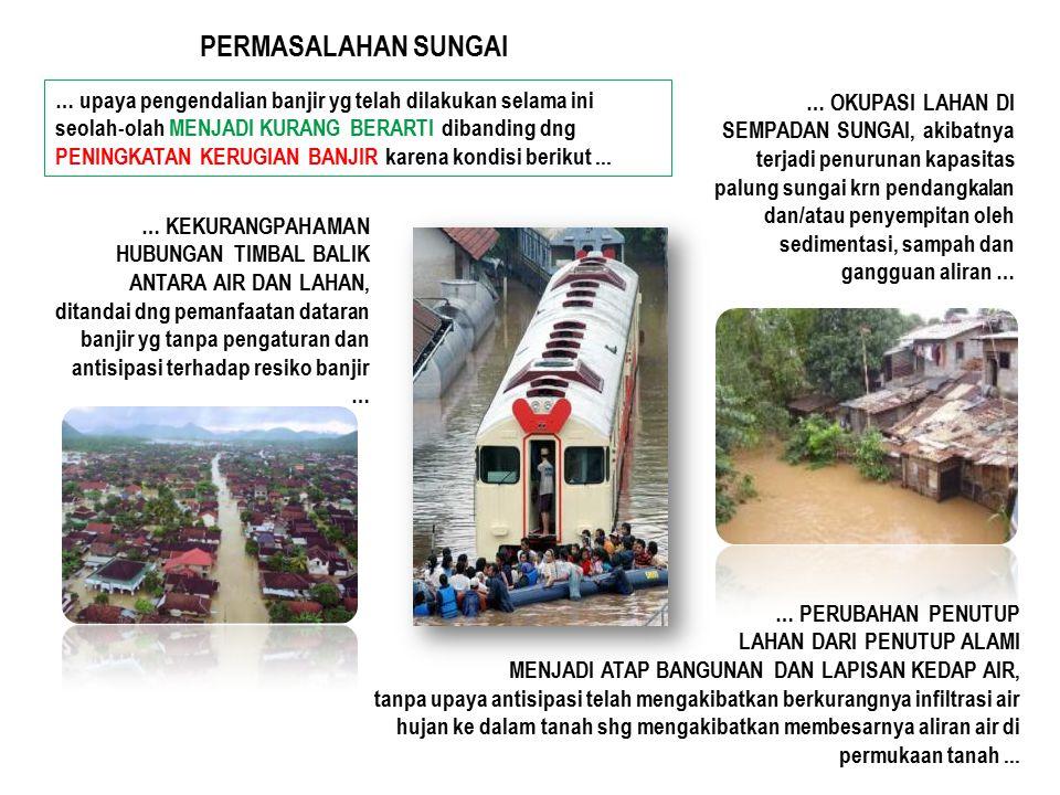… KEKURANGPAHAMAN HUBUNGAN TIMBAL BALIK ANTARA AIR DAN LAHAN, ditandai dng pemanfaatan dataran banjir yg tanpa pengaturan dan antisipasi terhadap resi