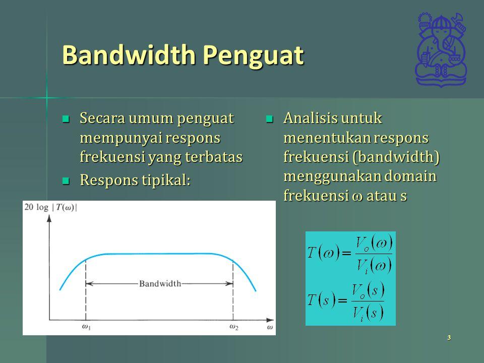 Bandwidth Penguat Secara umum penguat mempunyai respons frekuensi yang terbatas Secara umum penguat mempunyai respons frekuensi yang terbatas Respons
