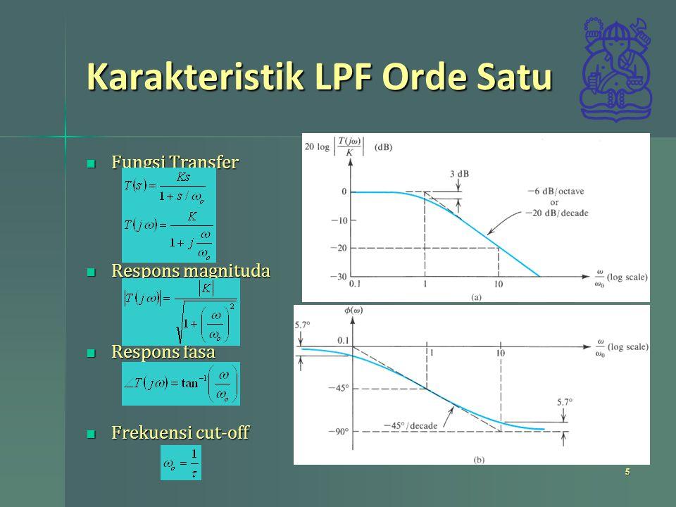 Karakteristik LPF Orde Satu 5 Fungsi Transfer Fungsi Transfer Respons magnituda Respons magnituda Respons fasa Respons fasa Frekuensi cut-off Frekuens