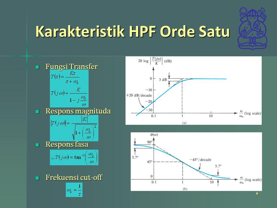 Karakteristik HPF Orde Satu Fungsi Transfer Fungsi Transfer Respons magnituda Respons magnituda Respons fasa Respons fasa Frekuensi cut-off Frekuensi