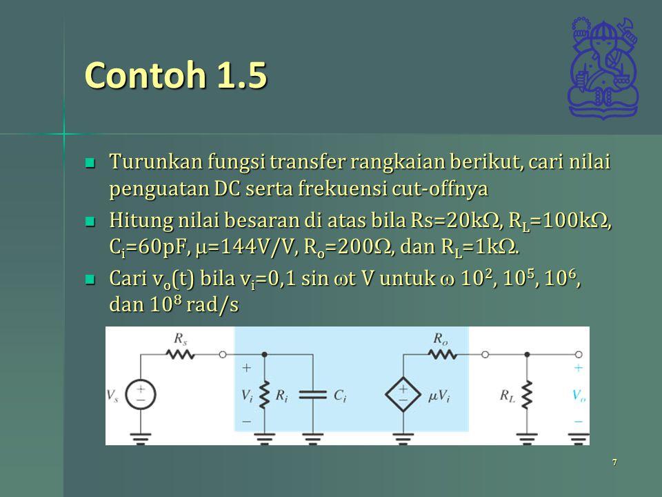 Contoh 1.5 Turunkan fungsi transfer rangkaian berikut, cari nilai penguatan DC serta frekuensi cut-offnya Turunkan fungsi transfer rangkaian berikut,