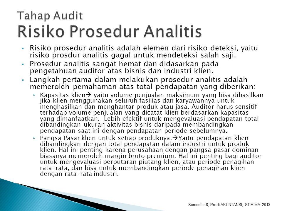  Risiko prosedur analitis adalah elemen dari risiko deteksi, yaitu risiko prosdur analitis gagal untuk mendeteksi salah saji.