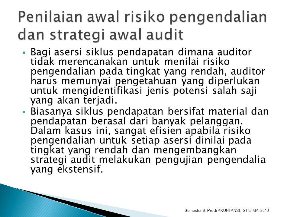  Bagi asersi siklus pendapatan dimana auditor tidak merencanakan untuk menilai risiko pengendalian pada tingkat yang rendah, auditor harus memunyai p