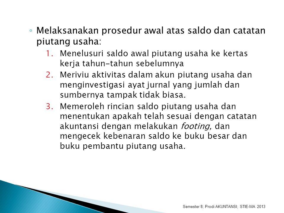 ◦ Melaksanakan prosedur awal atas saldo dan catatan piutang usaha: 1.Menelusuri saldo awal piutang usaha ke kertas kerja tahun-tahun sebelumnya 2.Meri
