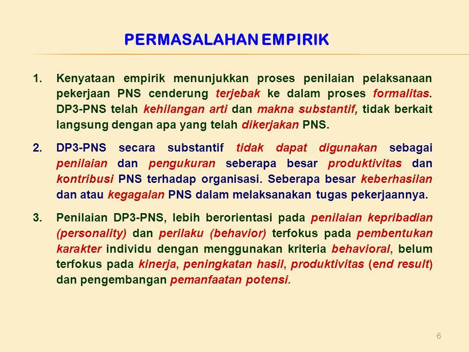 6 PERMASALAHAN EMPIRIK 1.Kenyataan empirik menunjukkan proses penilaian pelaksanaan pekerjaan PNS cenderung terjebak ke dalam proses formalitas. DP3-P