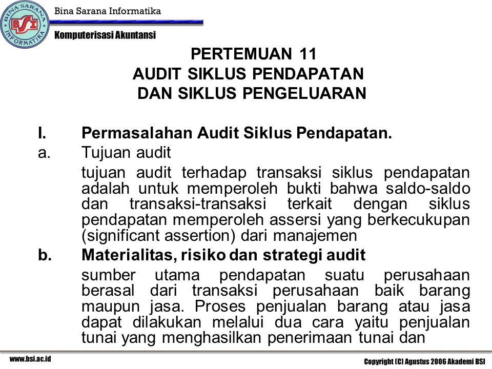 PERTEMUAN 11 AUDIT SIKLUS PENDAPATAN DAN SIKLUS PENGELUARAN I.Permasalahan Audit Siklus Pendapatan. a.Tujuan audit tujuan audit terhadap transaksi sik