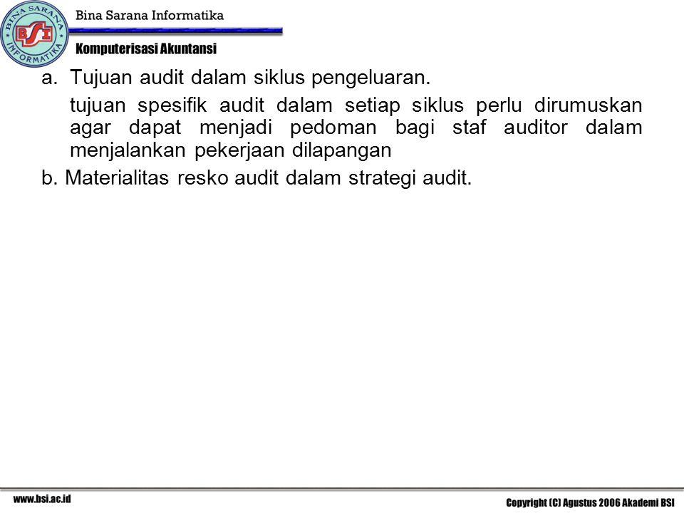 a.Tujuan audit dalam siklus pengeluaran. tujuan spesifik audit dalam setiap siklus perlu dirumuskan agar dapat menjadi pedoman bagi staf auditor dalam