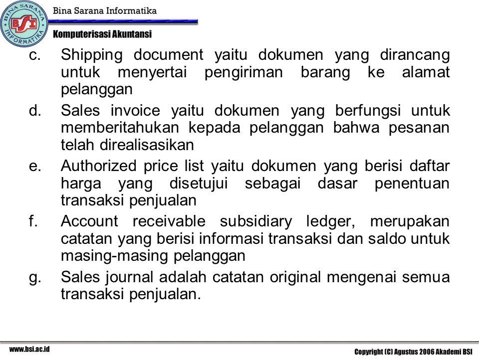 c.Shipping document yaitu dokumen yang dirancang untuk menyertai pengiriman barang ke alamat pelanggan d.Sales invoice yaitu dokumen yang berfungsi un