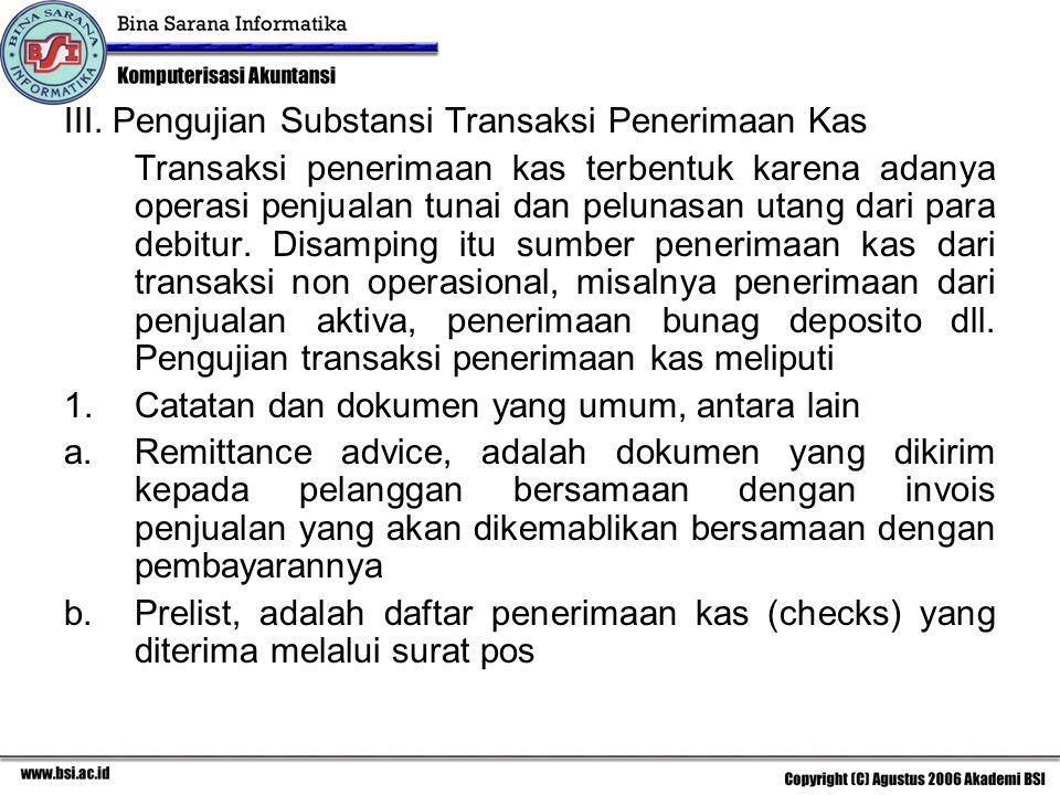 III. Pengujian Substansi Transaksi Penerimaan Kas Transaksi penerimaan kas terbentuk karena adanya operasi penjualan tunai dan pelunasan utang dari pa