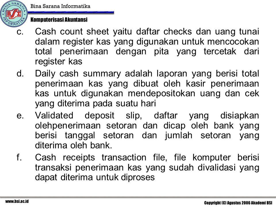 c.Cash count sheet yaitu daftar checks dan uang tunai dalam register kas yang digunakan untuk mencocokan total penerimaan dengan pita yang tercetak da