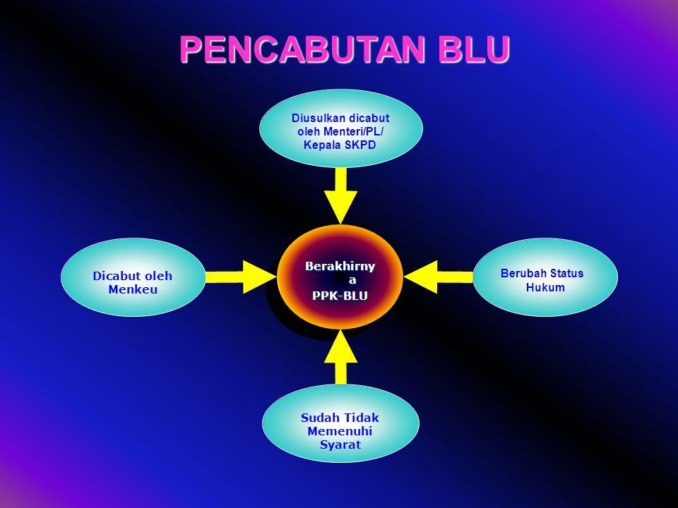 Direktorat PNBP dan BLU 14 PENCABUTAN BLU Status BLU berakhir apabila : a.Dicabut oleh Menteri Keuangan/ Kepala Daerah; b.Dicabut oleh Menteri Keuanga