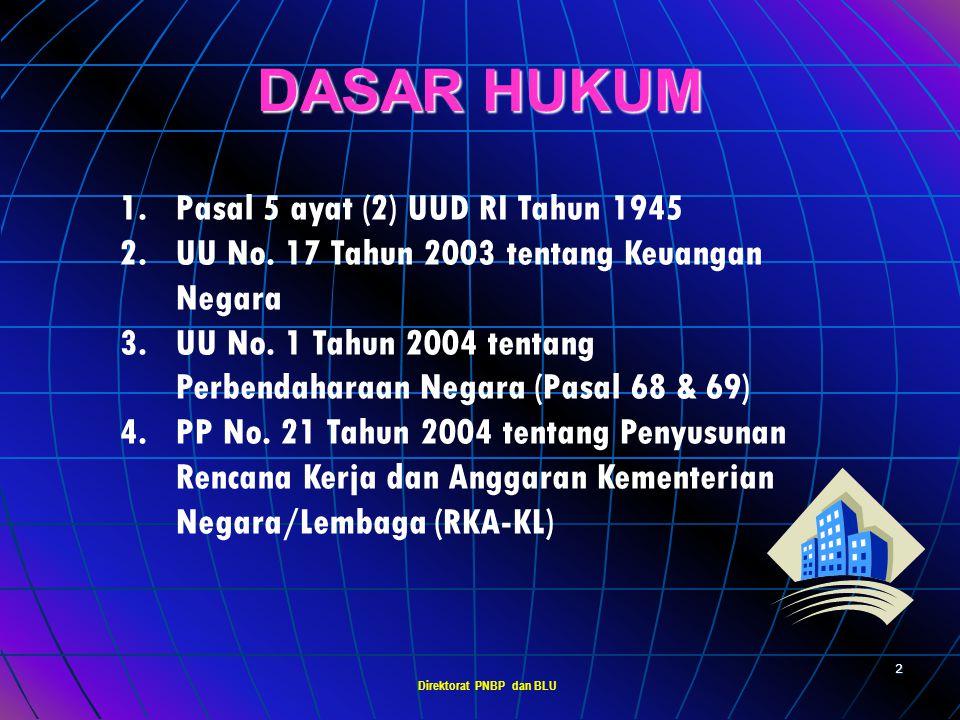 Direktorat PNBP dan BLU 1 PERATURAN PEMERINTAH Nomor 23 Tahun 2005 tentang PENGELOLAAN KEUANGAN BADAN LAYANAN UMUM Sosialisasi Jakarta, 13 Oktober 200