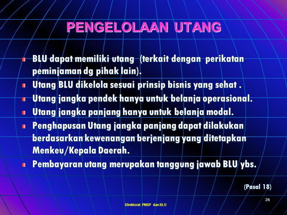 Direktorat PNBP dan BLU 25 PENGELOLAAN PIUTANG BLU dapat memberikan piutang (terkait dengan kegiatan bisnisnya dg pihak lain). Piutang BLU dikelola se