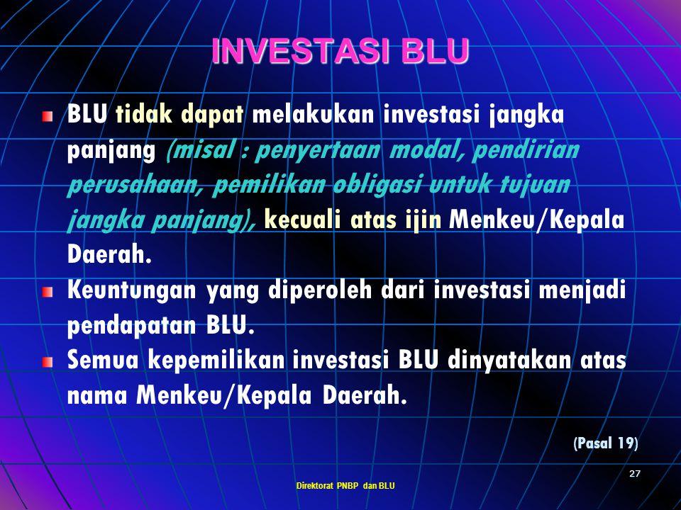 Direktorat PNBP dan BLU 26 PENGELOLAAN UTANG BLU dapat memiliki utang (terkait dengan perikatan peminjaman dg pihak lain). Utang BLU dikelola sesuai p