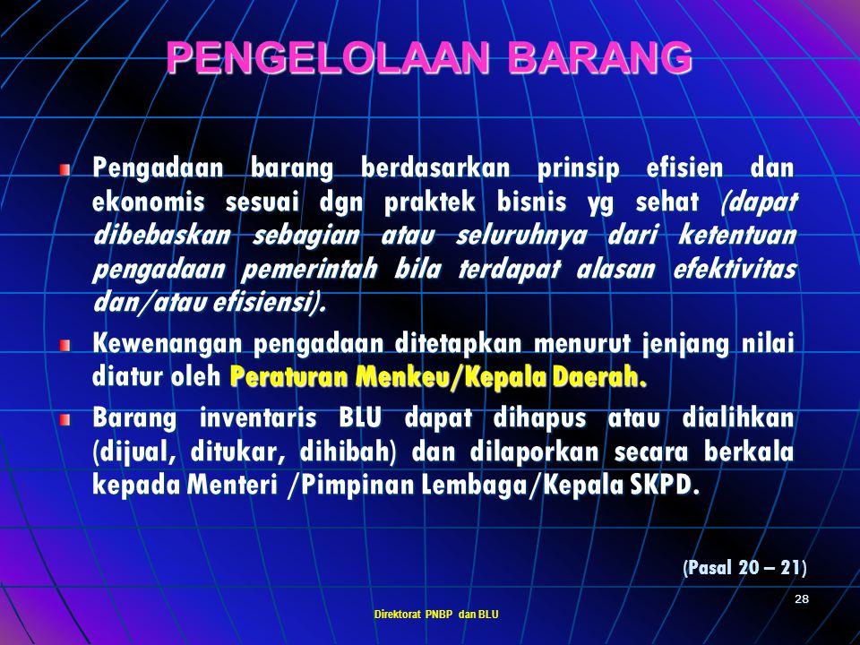 Direktorat PNBP dan BLU 27 INVESTASI BLU BLU tidak dapat melakukan investasi jangka panjang (misal : penyertaan modal, pendirian perusahaan, pemilikan