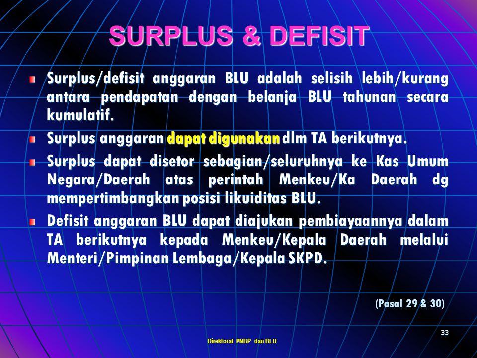 Direktorat PNBP dan BLU 32 AKUNTABILITAS KINERJA BLU Pimpinan BLU bertanggung jawab terhadap kinerja operasional BLU sesuai dengan tolok ukur yang dit