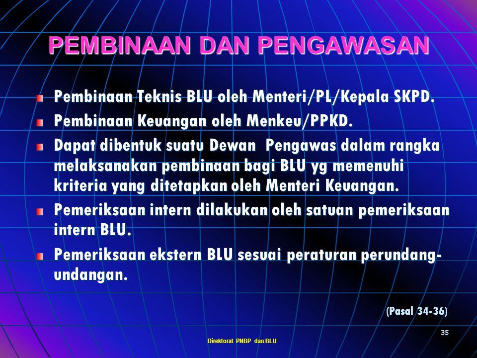 Direktorat PNBP dan BLU 34 TATA KELOLA BLU Pejabat pengelola BLU terdiri atas : - Pemimpin, - Pejabat Keuangan, dan - Pejabat Teknis Nomenklatur pejab