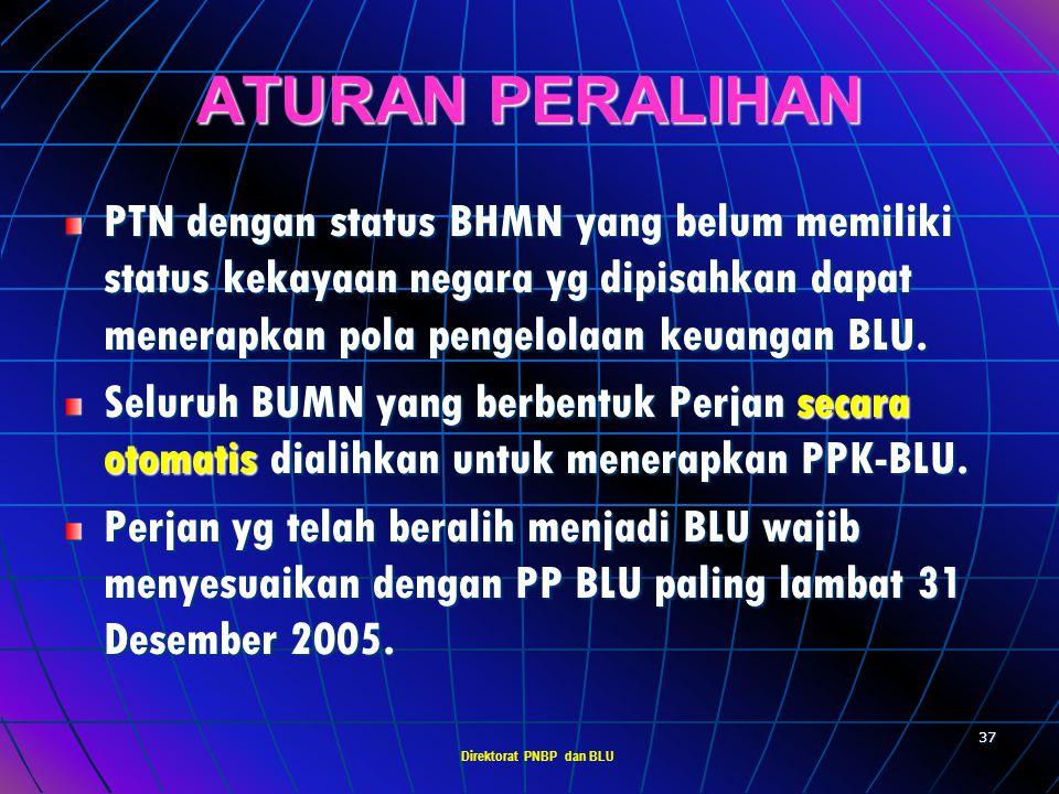 Direktorat PNBP dan BLU 36 REMUNERASI Pengelola, Dewan Pengawas dan pegawai BLU dapat diberikan remunerasi berdasarkan tingkat tanggung jawab & tuntut