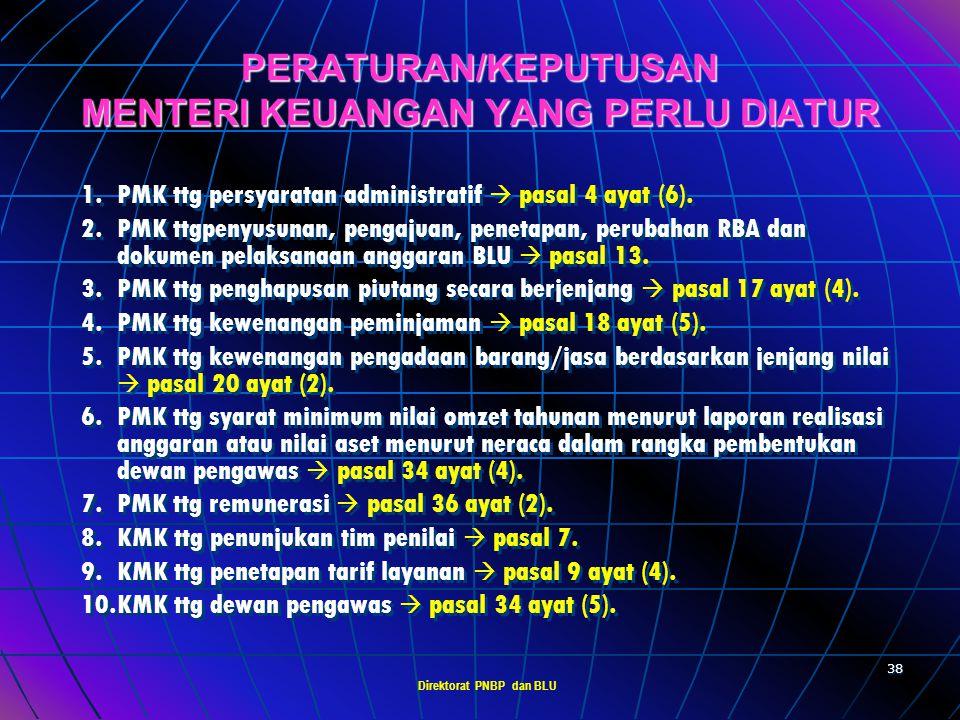 Direktorat PNBP dan BLU 37 ATURAN PERALIHAN PTN dengan status BHMN yang belum memiliki status kekayaan negara yg dipisahkan dapat menerapkan pola peng
