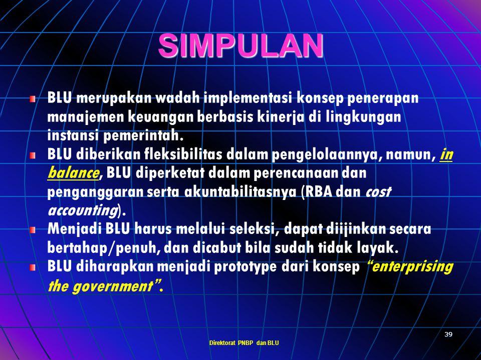 Direktorat PNBP dan BLU 38 PERATURAN/KEPUTUSAN MENTERI KEUANGAN YANG PERLU DIATUR 1. 1.PMK ttg persyaratan administratif  pasal 4 ayat (6). 2. 2.PMK