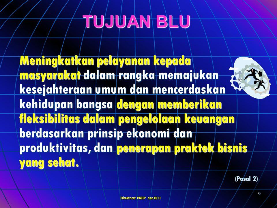 Direktorat PNBP dan BLU 5 PENGERTIAN BLU Badan Layanan Umum (BLU) adalah : Instansi di lingkungan Pemerintah yang dibentuk untuk memberikan pelayanan