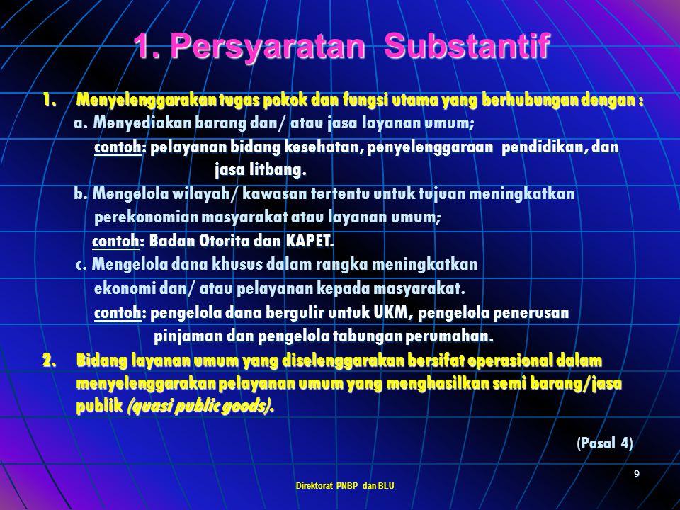 Direktorat PNBP dan BLU 8 PERSYARATAN BLU 1. Persyaratan Substanstif (fungsi dasar pelayanan publik) (fungsi dasar pelayanan publik) 2. Persyaratan Te