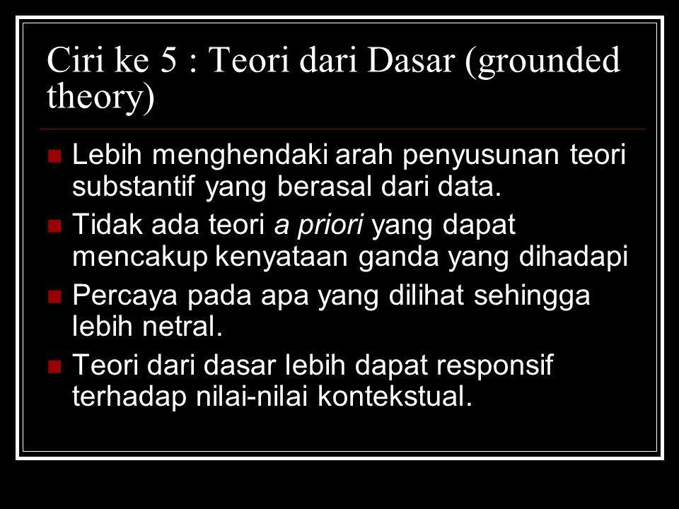 Ciri ke 5 : Teori dari Dasar (grounded theory) Lebih menghendaki arah penyusunan teori substantif yang berasal dari data.