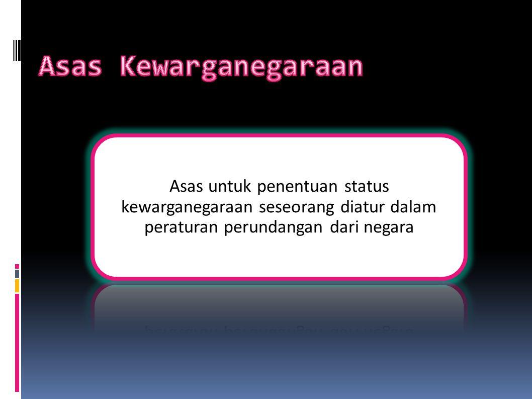 Asas Kelahiran (Ius Soli): Ius (hukum atau pedoman) Soli  Solum (negeri, tanah, atau daerah) Ius Soli adalah Penentuan status kewarganegaraan berdasarkan tempat atau daerah kelahiran seseorang Diatur dalam UU RI No.12 thn 2006