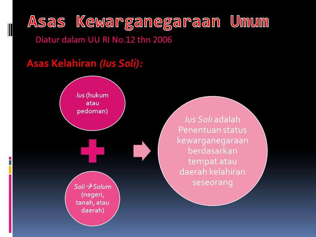 Asas Kelahiran (Ius Soli): Ius (hukum atau pedoman) Soli  Solum (negeri, tanah, atau daerah) Ius Soli adalah Penentuan status kewarganegaraan berdasa