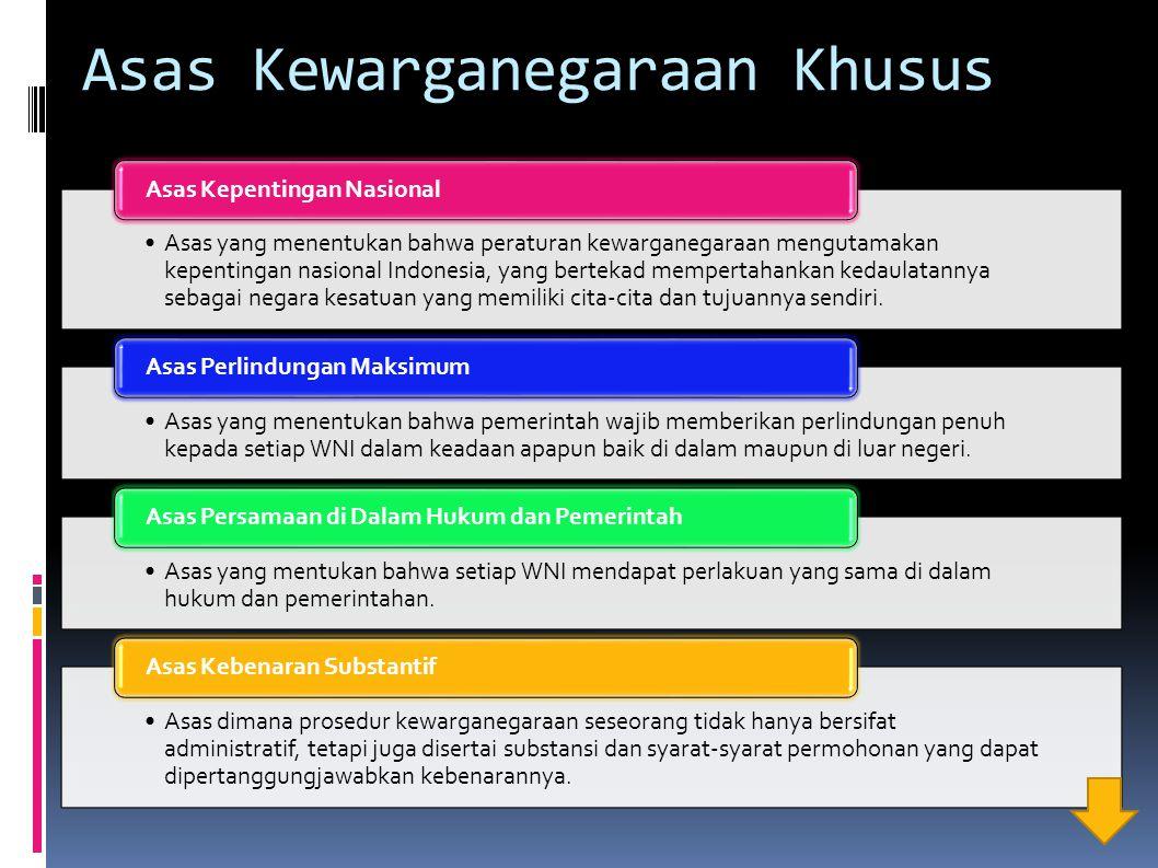 Asas Kewarganegaraan Khusus Asas yang menentukan bahwa peraturan kewarganegaraan mengutamakan kepentingan nasional Indonesia, yang bertekad mempertaha