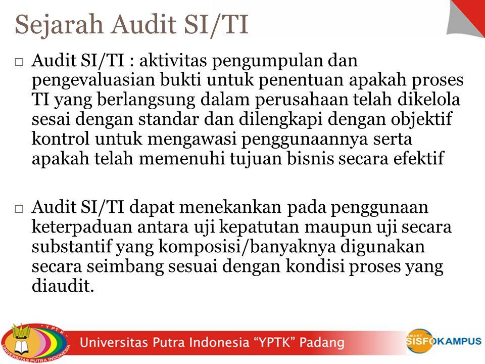  Audit SI/TI : aktivitas pengumpulan dan pengevaluasian bukti untuk penentuan apakah proses TI yang berlangsung dalam perusahaan telah dikelola sesai
