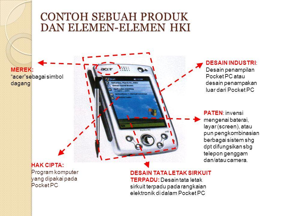 """CONTOH SEBUAH PRODUK DAN ELEMEN-ELEMEN HKI MEREK: """"acer""""sebagai simbol dagang DESAIN INDUSTRI: Desain penampilan Pocket PC atau desain penampakan luar"""