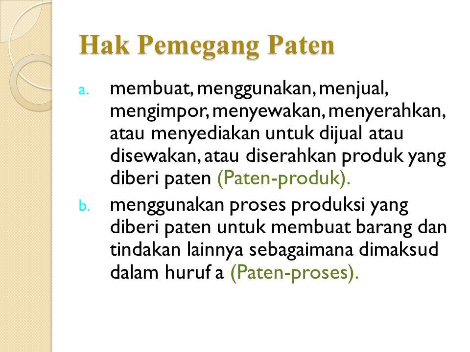 Hak Pemegang Paten (Paten-produk). a. membuat, menggunakan, menjual, mengimpor, menyewakan, menyerahkan, atau menyediakan untuk dijual atau disewakan,
