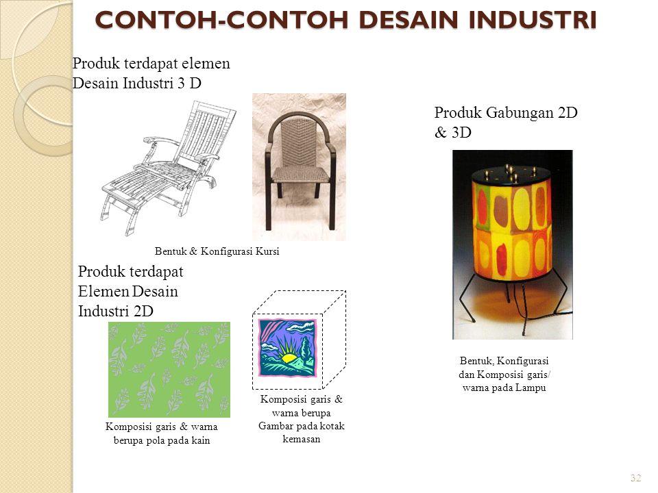 32 CONTOH-CONTOH DESAIN INDUSTRI Produk terdapat elemen Desain Industri 3 D Produk terdapat Elemen Desain Industri 2D Produk Gabungan 2D & 3D Bentuk &