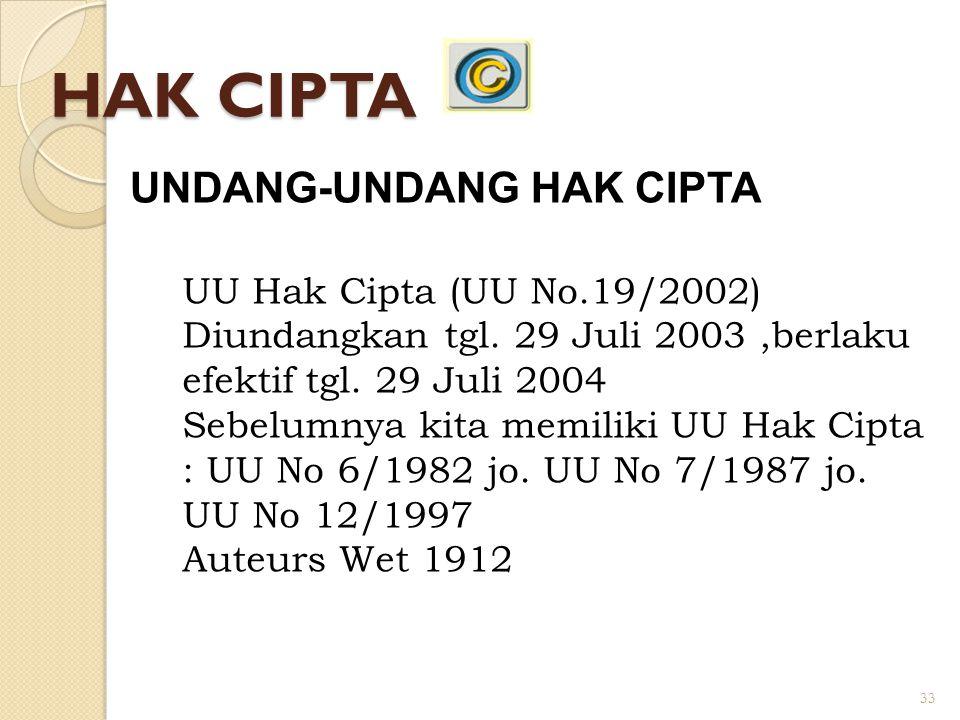 33 HAK CIPTA UNDANG-UNDANG HAK CIPTA UU Hak Cipta (UU No.19/2002) Diundangkan tgl. 29 Juli 2003,berlaku efektif tgl. 29 Juli 2004 Sebelumnya kita memi